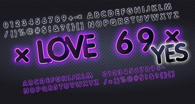Alfabetu angielskiego i cyfr kolekcja znaków neonowych.