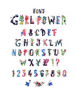 Alfabetu angielskiego w kwiaty i rośliny.