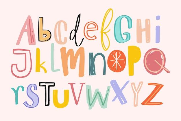 Alfabety ręcznie rysowane doodle zestaw stylów