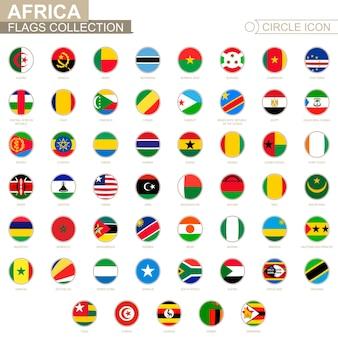 Alfabetycznie posortowane flagi koło afryki. zestaw okrągłych flag. ilustracja wektorowa.