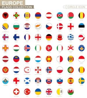 Alfabetycznie posortowane okrągłe flagi europy. zestaw okrągłych flag. ilustracja wektorowa.