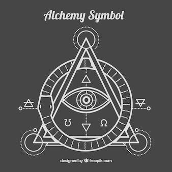 Alhemy symbol w stylu liniowym