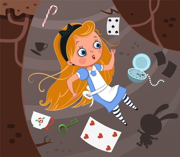 Alicja i ilustracja wektorowa króliczej dziury
