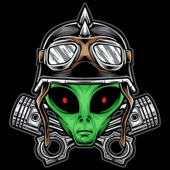 Alien biker head illustration