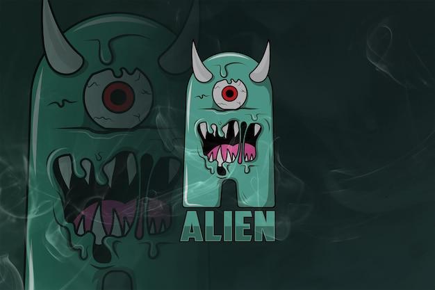 Alien monogram esport logo premium
