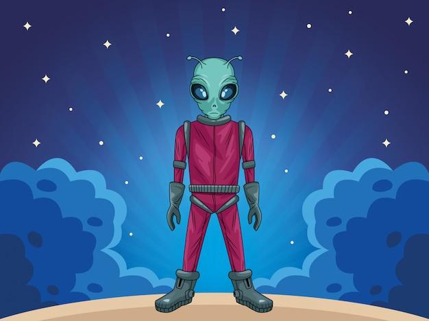 Alien na ilustracji postaci kosmicznej