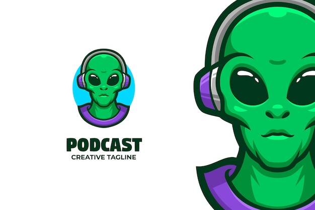 Alien podcast maskotka logo znak