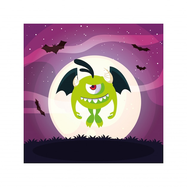 Alien potwór w noc halloweenową, zabawny potwór