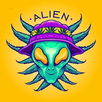 Alien summer weed cannabis mascot vector ilustracje do twojej pracy logo, maskotka t-shirt, naklejki i projekty etykiet, plakat, kartki z życzeniami reklama firmy lub marki.