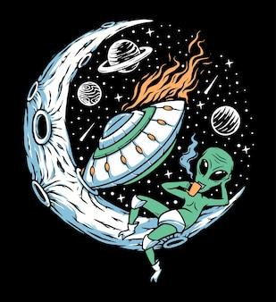 Alien utknął na ilustracji księżyca
