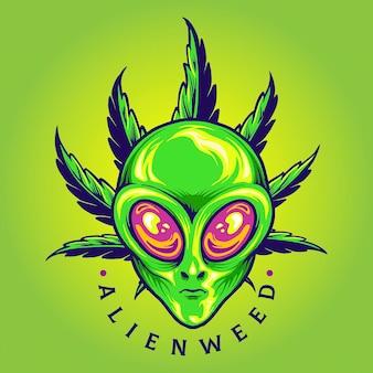 Alien weed cannabis leaf cartoon ilustracje wektorowe do pracy logo, koszulka z towarem maskotka, naklejki i projekty etykiet, plakat, kartki okolicznościowe reklamujące firmę lub marki.