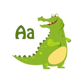 Aligator. funny alphabet, animal