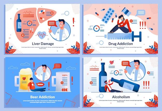Alkohol i narkotyki uszkodzenie wątroby płaski szablon zestaw