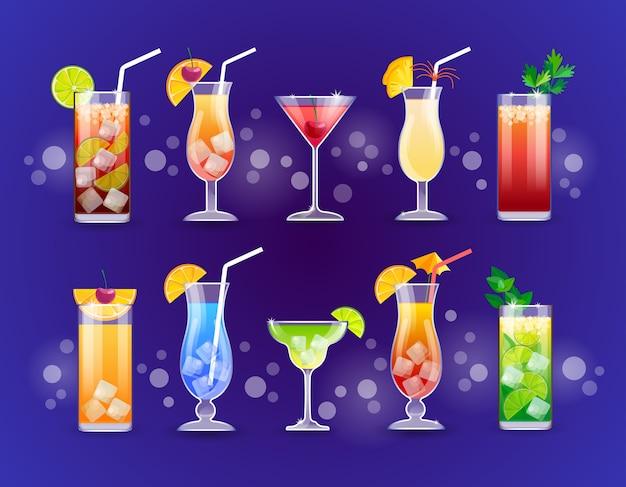 Alkohol koktajl zestaw szklanki napoje