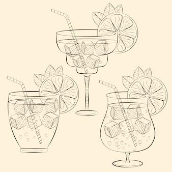 Alkoholiczna koktajlu szkła ręka rysująca nakreślenie ilustracja.