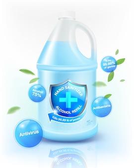 Alkoholowy środek dezynfekujący do rąk uzupełnienie 75% składnika alkoholowego, zabija do 99,99% dla koronawirusa (covid-19), bakterii i zarazków. pakowany w przezroczysty biały cylindryczny galon. realistyczny plik.