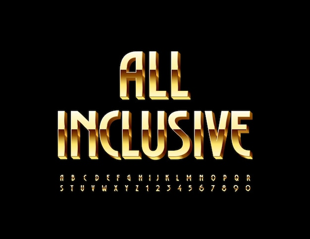 All inclusive gold elegancka czcionka luksusowy zestaw liter alfabetu i cyfr
