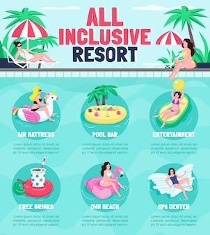 All inclusive ośrodek płaski kolor infografikę szablon informacyjny. plakat, broszura, koncepcja strony ppt z postaciami z kreskówek. ulotka reklamowa, ulotka, pomysł na baner informacyjny