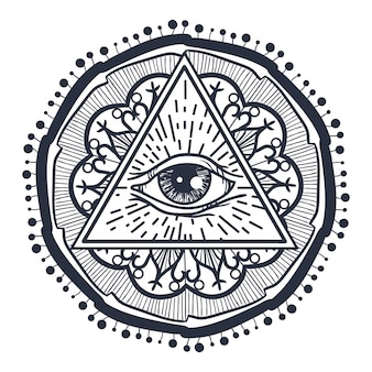 All seeing eye w trójkącie i mandal