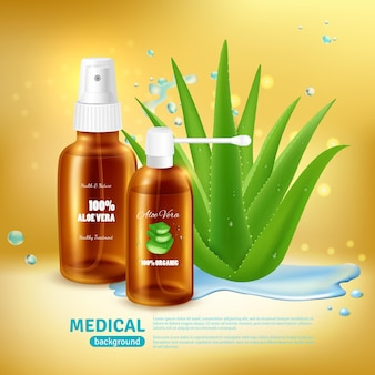 Aloe vera medical z opakowaniem na medyczną tubkę z rozpylaczem i nebulizator z realistyczną rośliną aloesu
