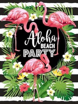 Aloha beach party hawajska impreza. wektorowa ilustracja tropikalni ptaki, kwiaty, liście.