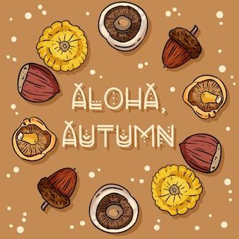 Aloha jesienny dekoracyjny wieniec śliczna przytulna kartka