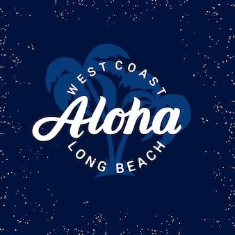 Aloha odręczny napis z palmami.