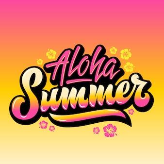 Aloha summerhand napis greeting gard lub poster. z kwiatami na hawajach i różowym żółtym gradientem.