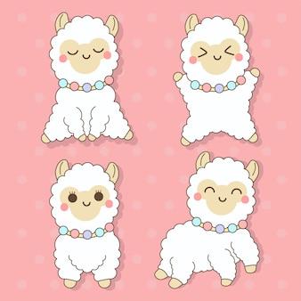 Alpaka - zestaw ilustracji cute kawaii charactor