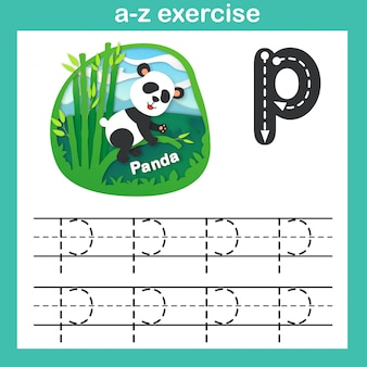 Alphabet letter p-panda exercise, paper cut concept vector illustration