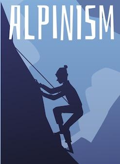 Alpinizm plakat lub szablon transparent z alpinistą sylwetka postać z kreskówki płaska ilustracja wektorowa na tle klifu gór. ekstremalna przygoda i turystyka.