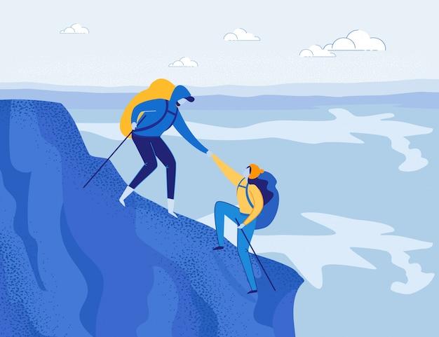 Alpinizm. travellers climbing rock.