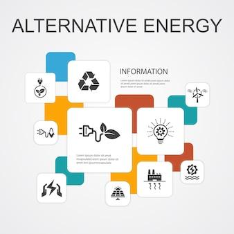 Alternatywna energia infografika 10 linii ikony szablon. energia słoneczna, energia wiatrowa, energia geotermalna, recykling prostych ikon