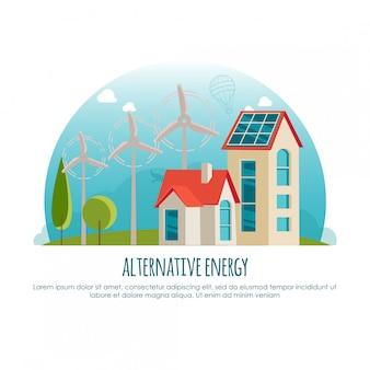 Alternatywna energia, zielona technologia, koncepcja transparentu. ilustracja kreskówka dla infografiki lub aplikacji internetowej