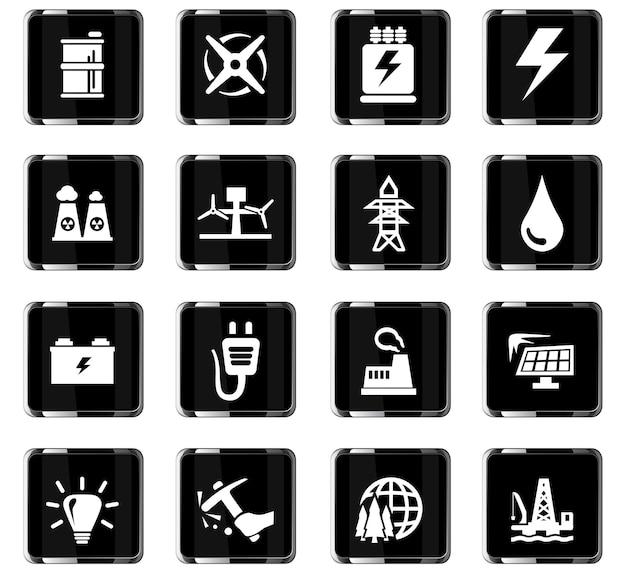 Alternatywne ikony wektorów energii do projektowania interfejsu użytkownika