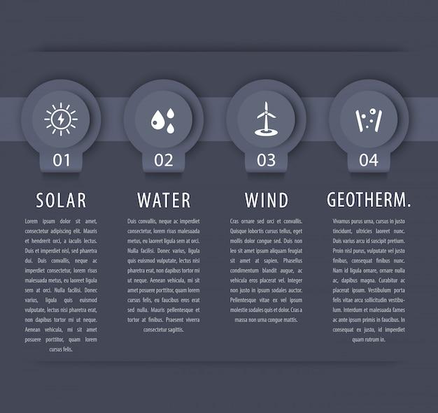Alternatywne rozwiązania energetyczne, energia słoneczna, energetyka wiatrowa, elementy infograficzne, szara oś czasu