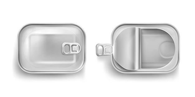 Aluminiowa puszka na sardynkę w widoku z góry