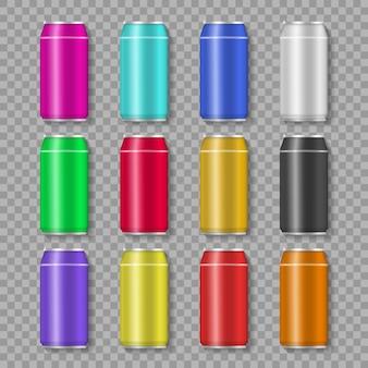 Aluminiowa puszka z napojem lub sokiem na przezroczystym tle na reklamę. zestaw realistycznych kolorowych aluminiowych puszek do napojów.