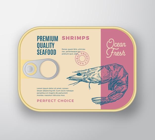 Aluminiowy pojemnik premium na owoce morza z pokrywą etykiety. opakowania w puszkach retro.