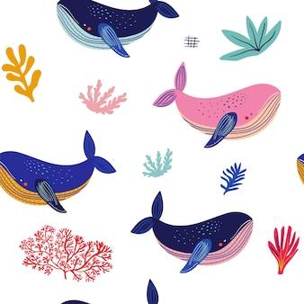 Amaising bezszwowy wzór z ilustracjami wielorybów i innymi elementami