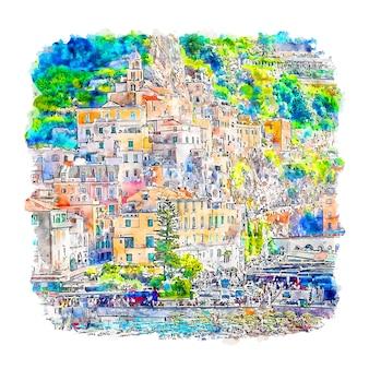 Amalfi włochy szkic akwarela ręcznie rysowane ilustracji