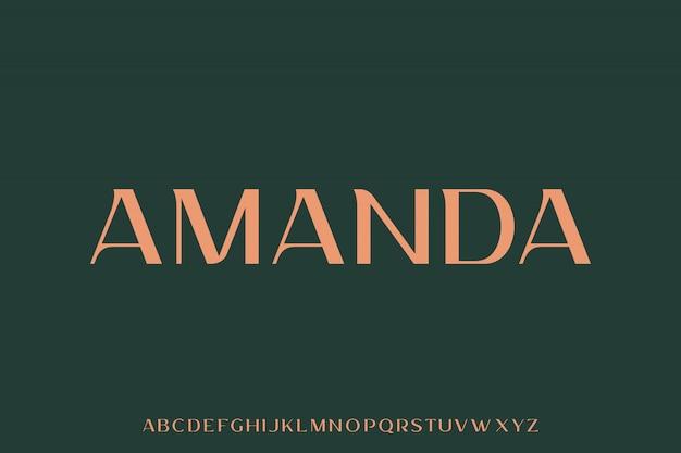 Amanda, luksusowa i elegancka czcionka wyświetlana w alfabecie