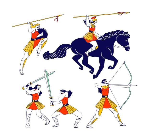 Amazonki kobiece postacie z włóczniami, łuk i miecze walki, jazda konna na białym tle. greckie postacie mitologiczne, wojowniczki z bronią. ilustracja wektorowa ludzi liniowych