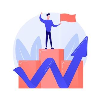 Ambitny biznesmen na szczycie. rozwój firmy, jakość przywództwa, możliwość kariery. osiągnięcie sukcesu, idea realizacji aspiracji.