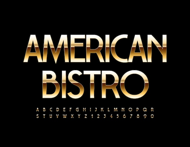 American bistro golden metal font elegancki luksusowy zestaw liter i cyfr alfabetu