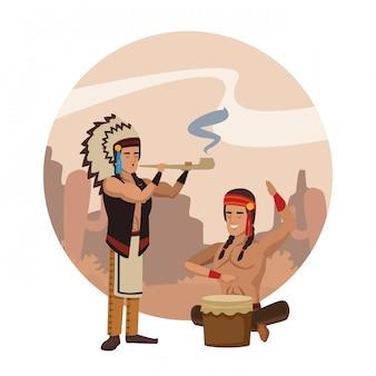 American indian ritual cartoon