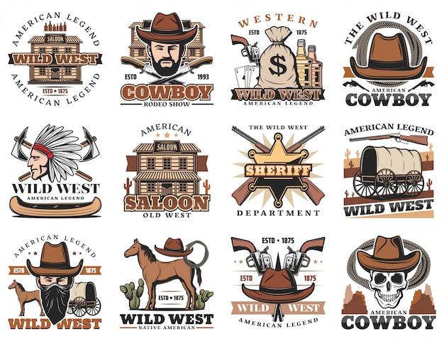 American Wild West Sedan, Szeryf, Kowboj Rodeo Premium Wektorów