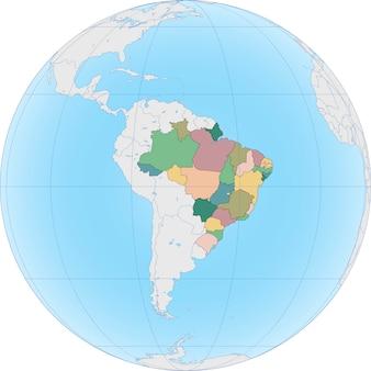 Ameryka południowa z brazylią na kuli ziemskiej