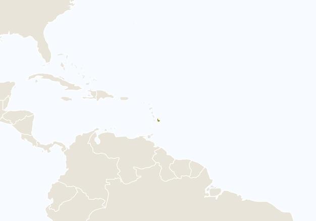 Ameryka południowa z podświetloną mapą barbadosu. ilustracja wektorowa.