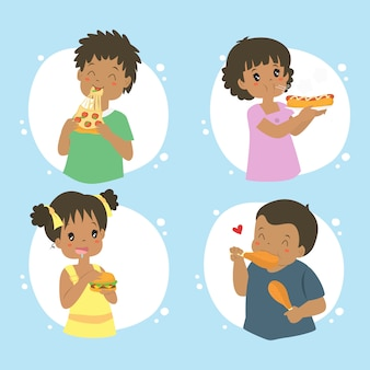Amerykan afrykańskiego pochodzenia dzieciaki je fast food, wektorowa kolekcja